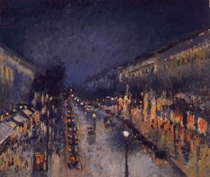 Pissarro: Boulevard Montmartre di notte